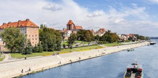 Torun city located on the Vistula river bank, Poland.