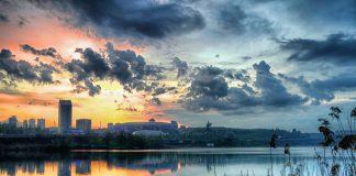 Evening urban landscape of Donetsk, East Europe, Ukraine