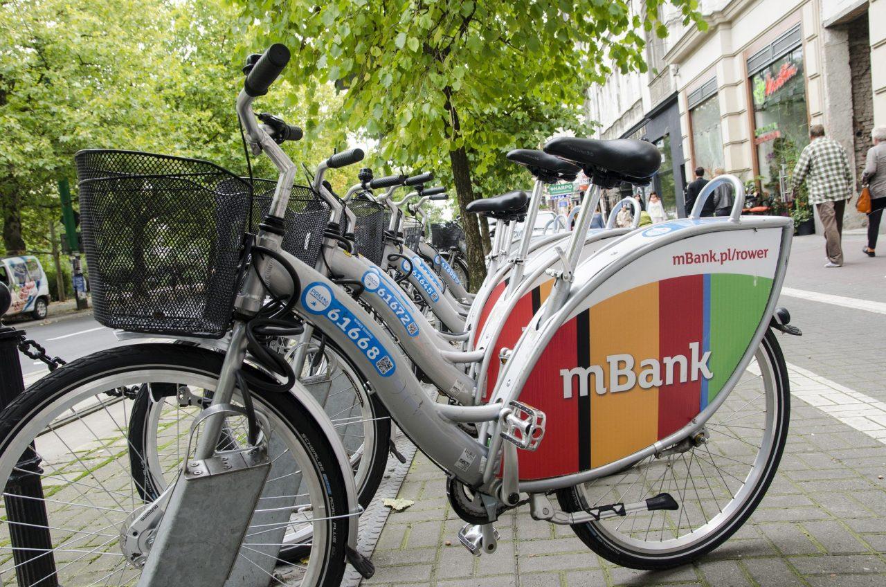 Stacja Poznańskiego Roweru Miejskiego z rowerami