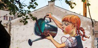 Mural Dziewczynka z konewką w Białymstoku