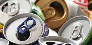 background of empty cans - recycling idea
