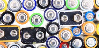 old color batteries texture as recycle background