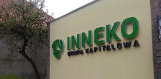 Logo Inneko Grupa Kapitałowa na ścianie budynku