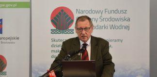 Minister środowiska Jan Szyszko podczas konferencji w siedzibie Narodowego Funduszu Ochrony Środowiska i Gospodarki Wodnej