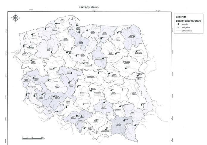Mapa zarządów zlewni według Prawa wodnego