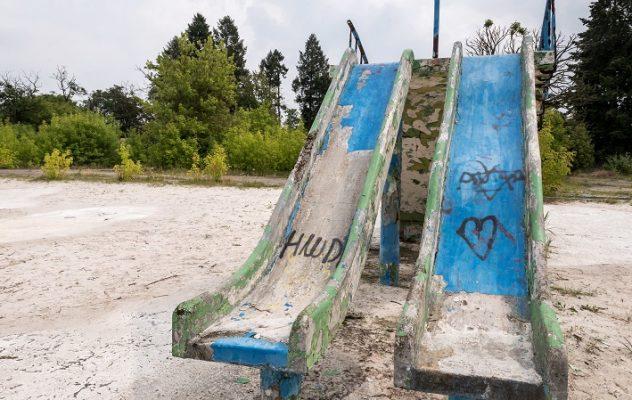 Zniszczone zjeżdżalnie w Ciechocinku