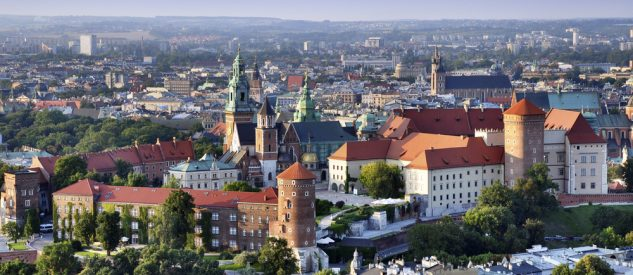 Cracow skyline with aerial view of historic royal Wawel Castle and city center