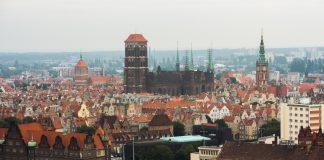 Wizyta na wieży zegarowej na Biskupiej Górce. Nz. widok z wieży zegarowej na panoramę Gdańska