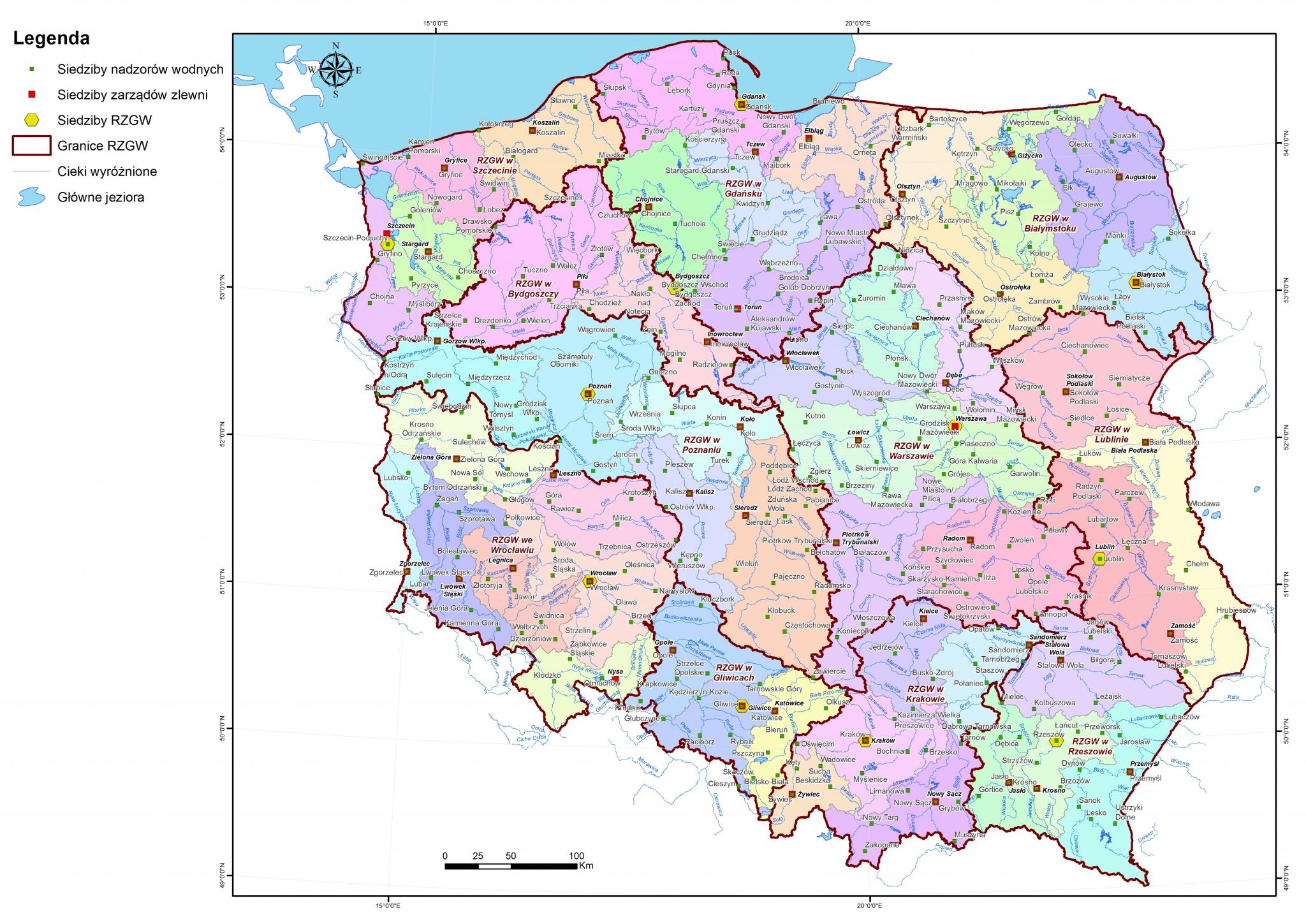 Wody Polskie - mapa struktur (RZGW, zarządy zlewni, nadzory wodne)