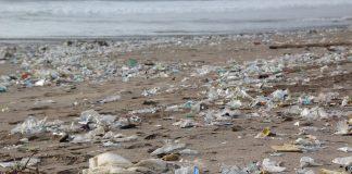 Śmieci wyrzucone na morską plażę