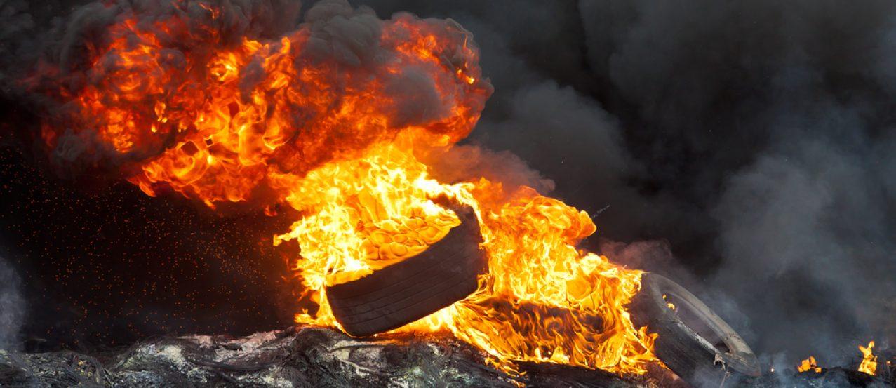 KIEV, UKRAINE - 23 JANUARY 2014: Burning tires at the Independence square during Ukrainian revolution on January 23, 2014 in Kiev, Ukraine.