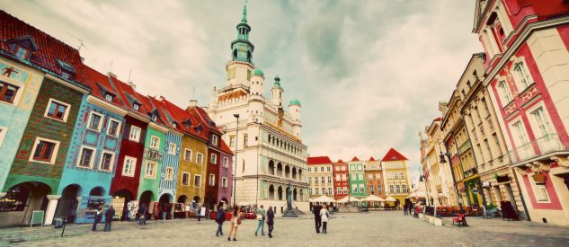 Poznan, Posen market square, old town, Poland. Town hall and colourful historical buildings. Vintage
