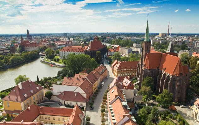 Panorama of the city of Wroclaw in Poland, Europe