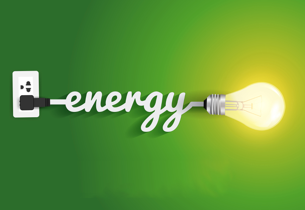 Energy saving and simple light bulbs.Green background vector illustration template design