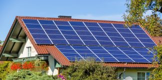 on a house solar panels for alternative solar energy can be used. solar power plant for residential use