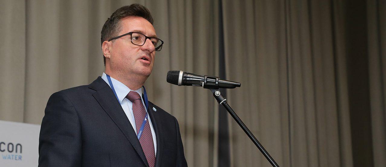 Przemysław Daca, prezes Wód Polskich podczas kongresu Envicon Water 2019 w Warszawie