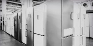 Appliances the store presents for sale a large selection of modern fridges different models.