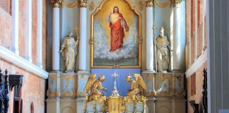The altar of the Sacred Heart of Jesus Church and Our Lady of Consolation church in Poznań, Poland