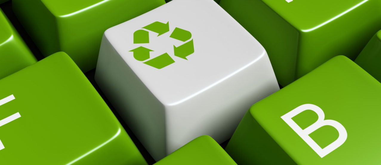 3d recycle symbol computer keyboard