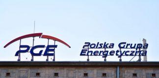 Logo na siedzibie PGE w Warszawie