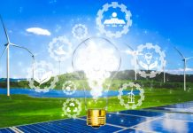 Green energy innovation light bulb with future industry of power generation icon graphic interface. Concept of sustainability development by alternative energy.